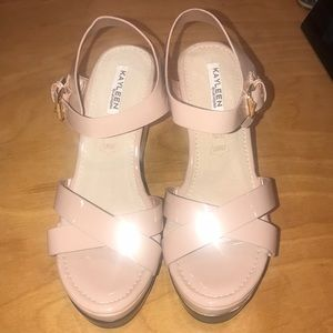 Nude Patent Wedge Sandals size 8